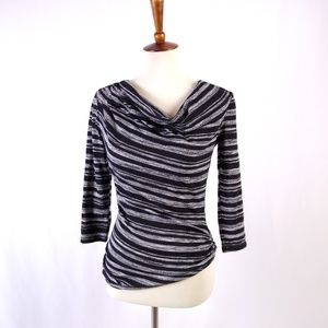 Sophie Max B/W Stripe Ruched Top Size Small